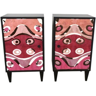 Contemporary Italian Black Lacquered and Rose Pink Leather Side Cabinets - a Pair - in Showroom For Sale