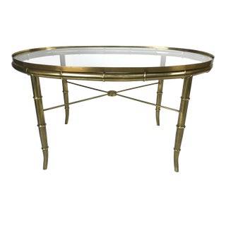 1960s Italian Faux Bamboo Brass Cocktail Table For Sale