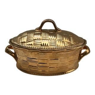 Hall China Co. Gold Casserole Dish