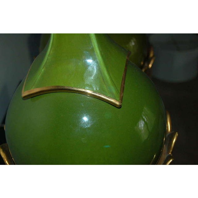 Ceramic Marbro Italian Ceramic Table Lamps Artichoke Green For Sale - Image 7 of 10