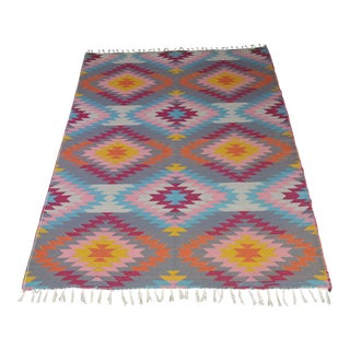 "Flat Weave Turkish Pink Wool Kilim Rug - 5'3"" x 7'6"" For Sale"