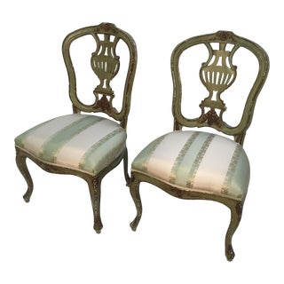 Late 19th Century Vintage Italian Green Painted, Carved and Gilt Louis XV Side Chairs- A Pair For Sale