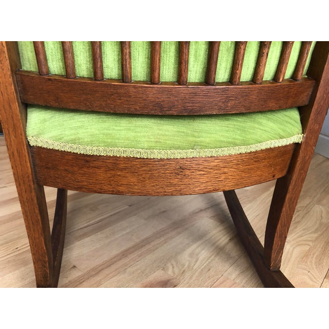 Late 19th Century Antique Oak Wood Mortise and Tenon Upholstered Rocking Chair For Sale - Image 12 of 13