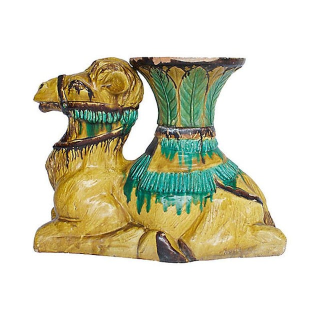 Hand-painted Italian terracotta camel planter. Pot removes from camel base. No maker's mark. Repaired break to pot; hard...
