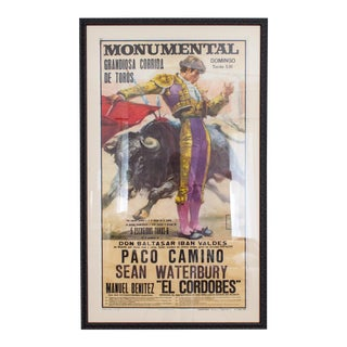 Vintage 1970's Bullfighting Poster Framed in Acrylic From Spain