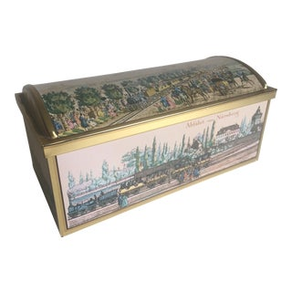 Vintage E. Otto Schmidt Railroad Cookie Tin Trunk For Sale