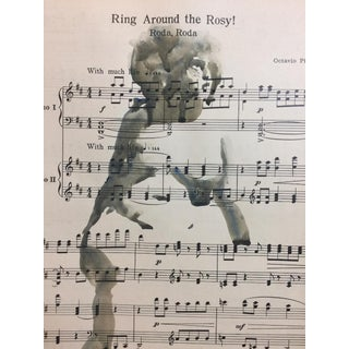 "Vintage ""Ring Around the Rosy"" Music Sheet Nude Painting For Sale"