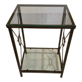 Iron & Glass Neoclassical Style End Table With Arrow Motife For Sale