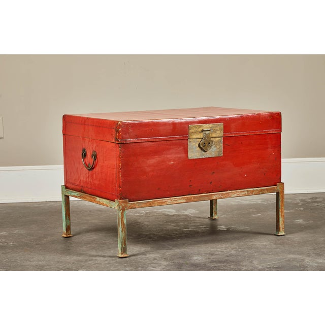 Red Lacquer Pig-Skin Leather Camphor Trunk on Stand For Sale - Image 9 of 9
