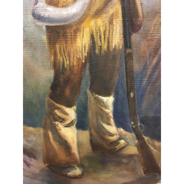 Figurative Mid 20th Century Portrait of a Frontiersman Oil Painting For Sale - Image 3 of 6