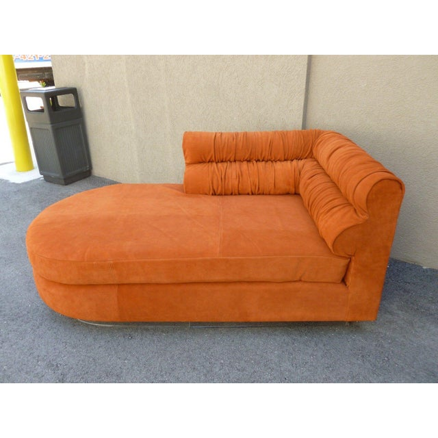 70's Mod Italian Suede and Lucite Chaise For Sale - Image 9 of 11