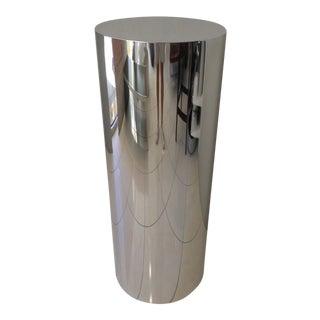 Brueton Polished Staineless Steel Cylinder Pedestal For Sale