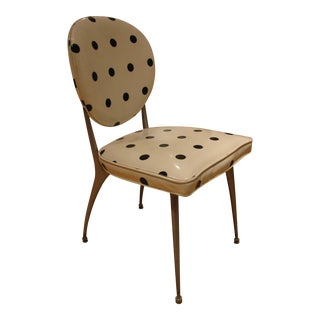 1960s Vintage Mid-Century Modern White & Black Polka Dot Vinyl Dining Accent Chair For Sale