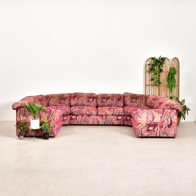 Pink Vintage 1980's Miami Beach Sectional For Sale - Image 8 of 10