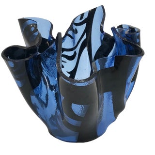Blue and Black Art Glass Handkerchief Vase For Sale
