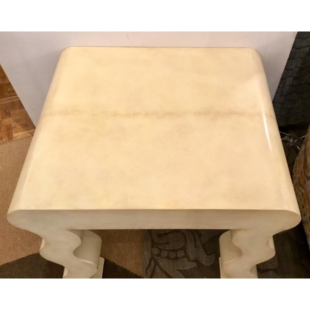 Abstract Henredon Modern Ivory Leather Wrapped Curvy Side Table For Sale - Image 3 of 5