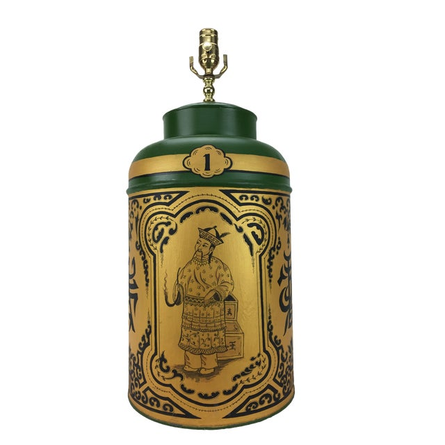 1970s Vintage English Export Chinoiserie Tea Caddy Lamp For Sale