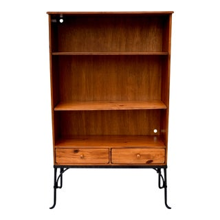 Spanish Colonial Influenced Knotty Pine & Iron Etagere For Sale