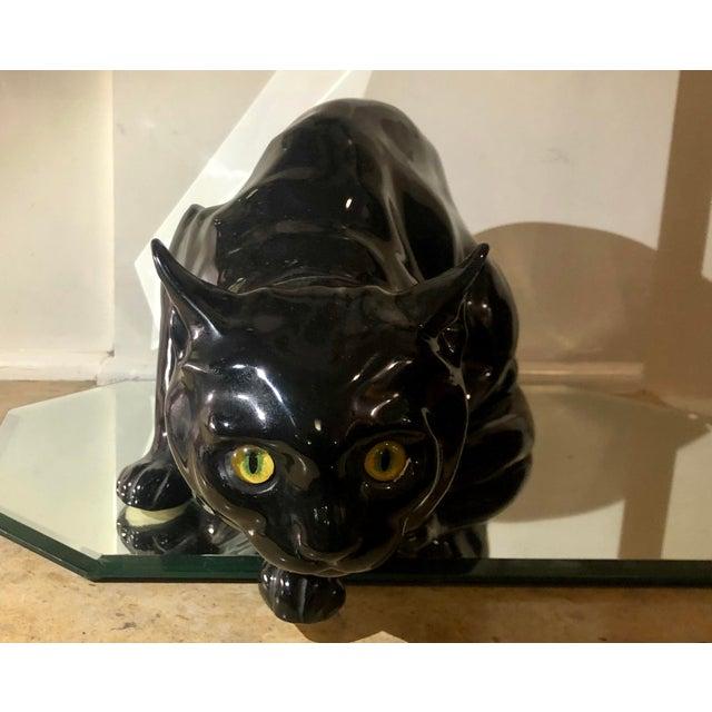 Art Deco Rare Antique Wiener Kunst Keramische Werkstatte Austria Ceramic Black Cat W Glass Eyes For Sale - Image 3 of 8