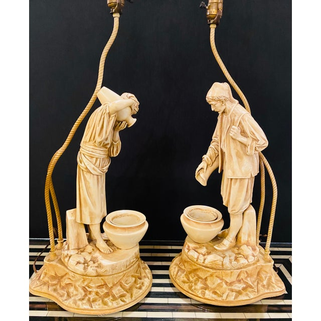 Ceramic Water Bearers in a Finely Cast Porcelain Finish, Table Lamps, a Pair For Sale - Image 7 of 13