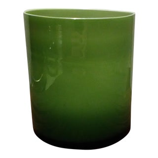 Hand Blown Green Cylinder Vase