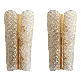 Large Mid Century Modern Murano Glass & Brass Sconces, Barovier Style Italy 1960's - a Pair For Sale