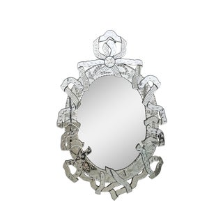 1950s Italian Ribbon Motif Venetian Wall Mirror For Sale
