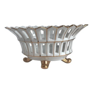 Antique French Reticulated Porcelain Basket