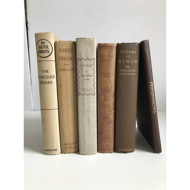 Antique Browns Books - Set of 6 For Sale - Image 9 of 9