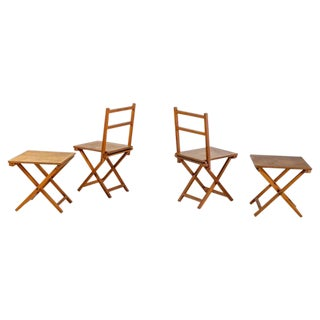 Set of Two Wooden Folding Chairs and Two Stools, Dutch, 1950s For Sale