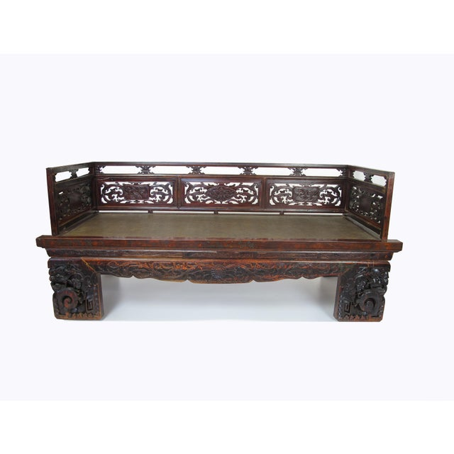 Asian 1900s Antique Chinese Daybed With Hand Carved Railing For Sale - Image 3 of 11