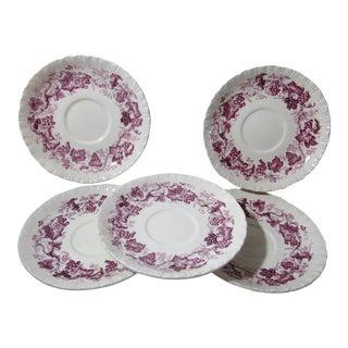 Vintage Wedgwood Old Vine Purple Cream Ware Saucers-Liners Set of 5 For Sale