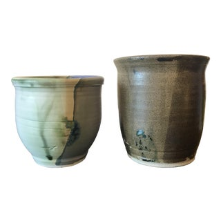 1990s Jan Ross Glaze Ceramic Vases - a Pair