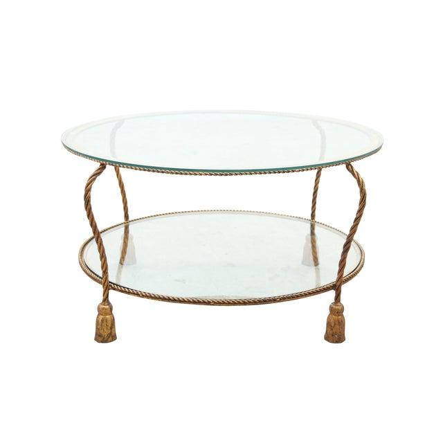 Hollywood Regency Gilt Rope Side Table - Image 1 of 6