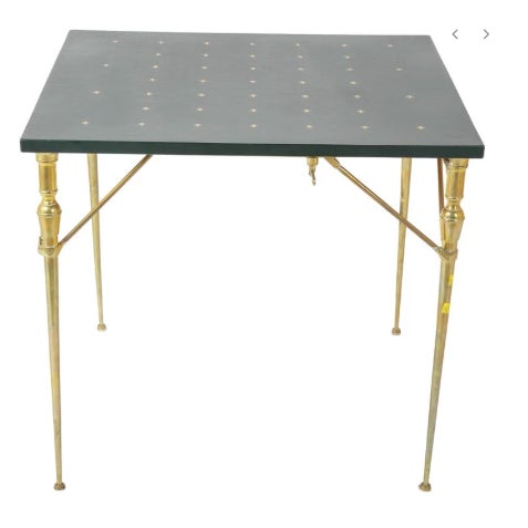 Metal A Leather Top and Brass Folding Games Table For Sale - Image 7 of 7