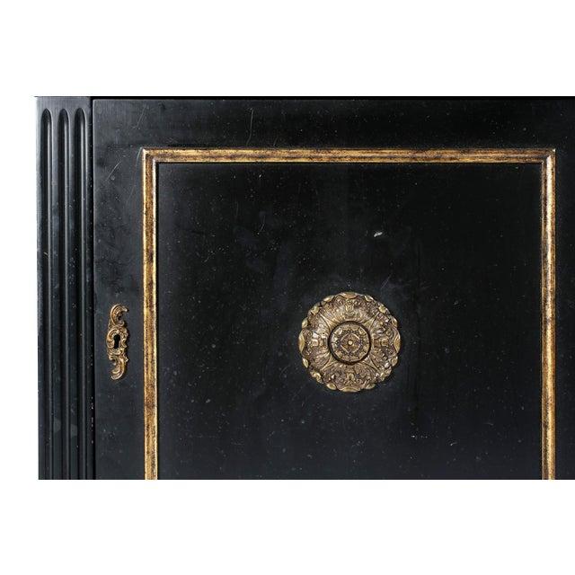 Pair Mid 20th Century Gilt Wood Ebonised Cabinets / Vitrines For Sale - Image 11 of 13