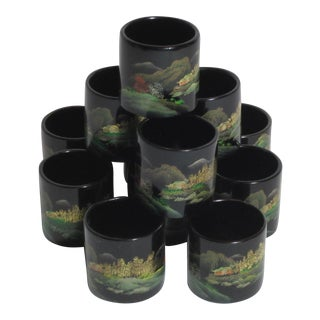 Japanese Hand Painted Napkin Rings - Set of 12