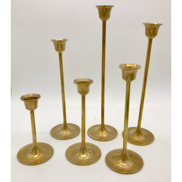 1960s 1960s Mid-Century Modern Brass Graduated Candlesticks - Set of 6 For Sale - Image 5 of 5