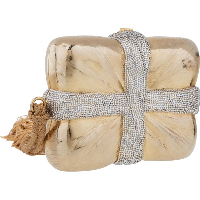 Judith Leiber Judith Leiber Gift Box Ribbon Tassel Evening Bag Minaudiere Gold Rhine Crystals Antique For Sale - Image 4 of 5