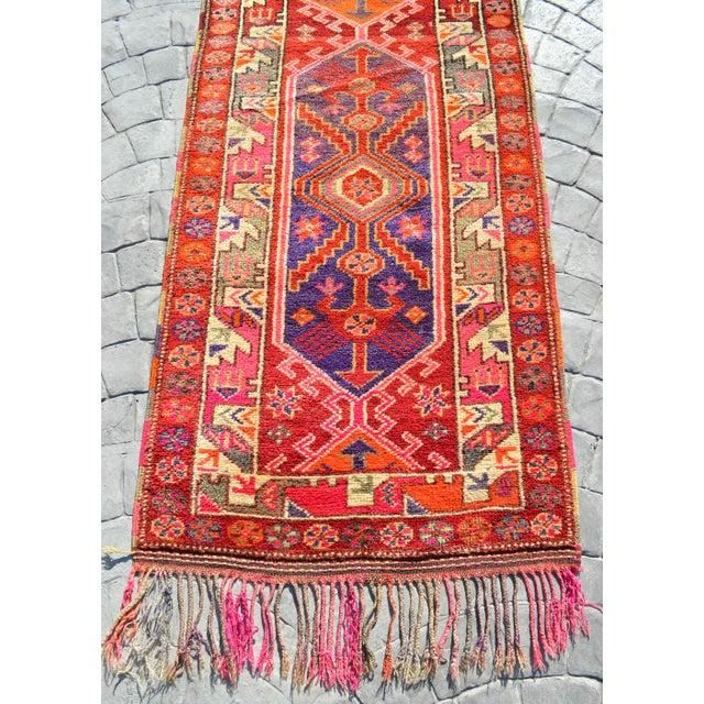 Heterodox Kurdish Runner Herki Rug. Hand-Knotted Colorful Tribal Long Runner - 3′1″× 15′6″ For Sale - Image 9 of 12