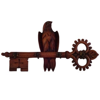 Edwardian Carved Key Form Coat Hook With Bird For Sale