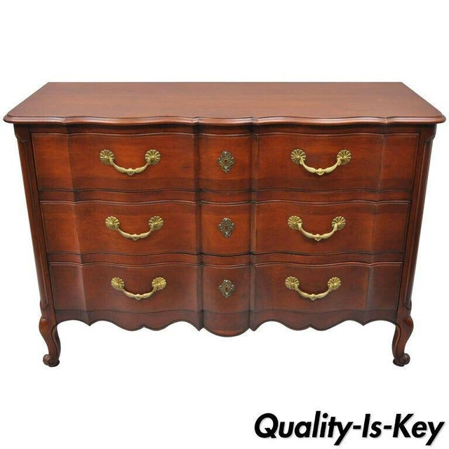 John Widdicomb French Country Provincial Louis XV Cherry Commode For Sale - Image 11 of 11