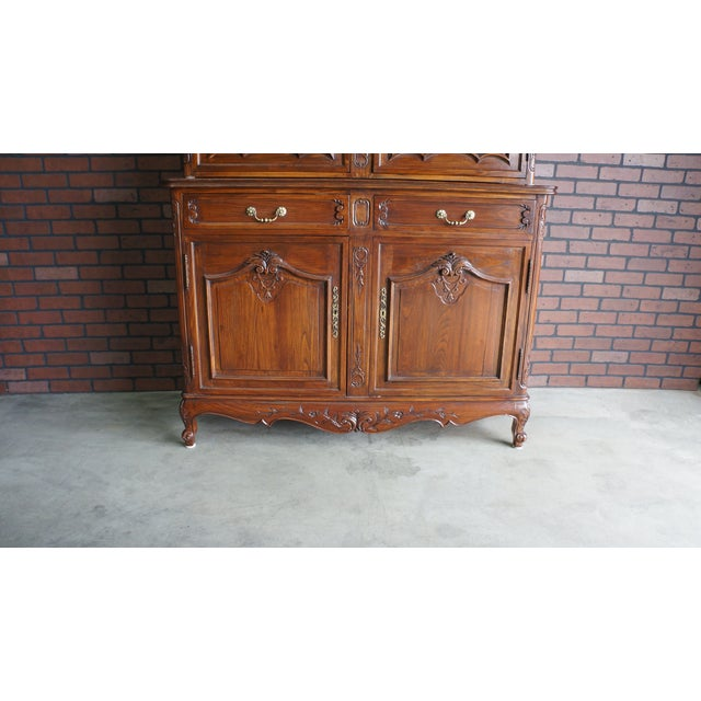 Glass French Provincial Display Cabinet Hutch For Sale - Image 7 of 11