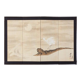 Japanese Four-Panel Screen of White Egret With Waves For Sale