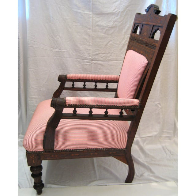 Antique Eastlake Style Wood Inlay Chair - Image 3 of 8