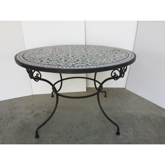 Moroccan Round Mosaic Outdoor Tile Table in Fez Moorish Design For Sale - Image 10 of 10