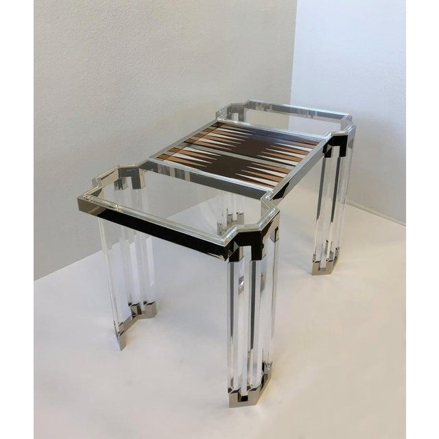 Black Lucite and Polish Nickel Backgammon Table by Charles Hollis Jones For Sale - Image 8 of 11
