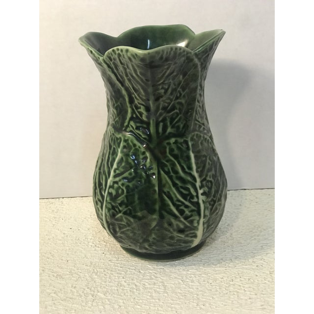 1960s Vintage Green Cabbage Majolica Pitcher For Sale - Image 5 of 7
