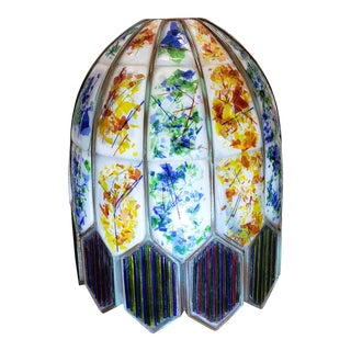 Mid 20th Century American Leaded Confetti Glass Paneled Lamp Shade For Sale