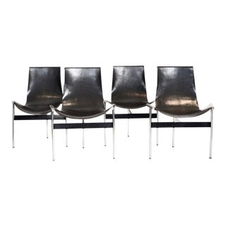 Set of 4, Katalovos 'T Chairs' in Black Leather and Chrome, 1952 For Sale